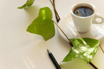 Inspiration coffee time. White coffee cup with fresh green leaves and a pen on white background and space for text.  Concept - wake up with ideas