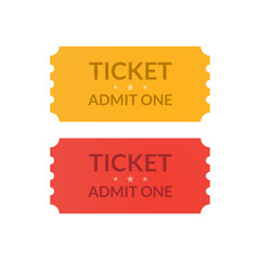 Tickets icons. Admit one document design illustration