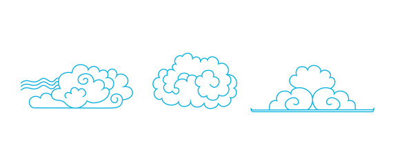 Set of clouds. Hand drawn Chinese blue clouds. Outline Contours of clouds in the oriental style. Сlumpy clouds. Vector AI10