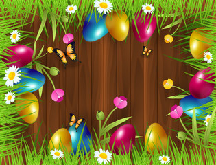 Easter background with colorful easter eggs in grass