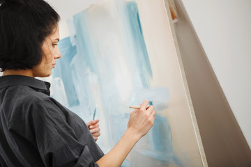 Woman in concept of arts therapy mental health profession