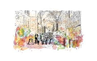 Watercolor splash with hand drawn sketch of Aya Sophia Istanbul, Turkey in vector.