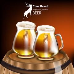 Beer mugs Vector realistic design. Mock up product packaging. Wood barrel red background illustrations