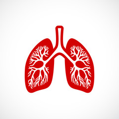 Breath lungs vector icon