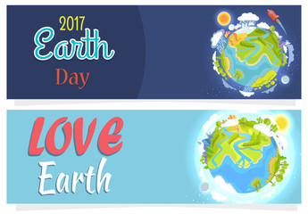 International Save Earth Day Agitation Posters Set