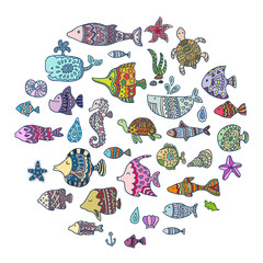 Vector sea animals. Stock vector template, easy to use.