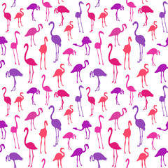 Vector seamless pattern with flamingo bird. Can be used for textile, website background, book cover, packaging.