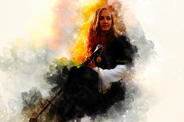 beautiful woman with sword in a historical clothing and Softly blurred watercolor background.