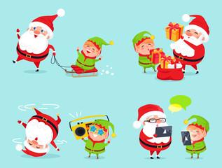 Santa Claus and Elf Adventures Vector Illustration