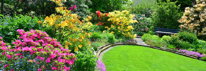 Printed roller blinds Garden Garten im Mai Panorama