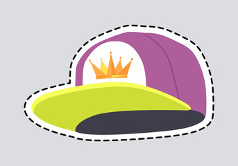 Male Colourful Rap Cap Isolated Illustration Patch