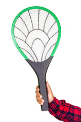 Hand holding  mosquito swatter on white background.