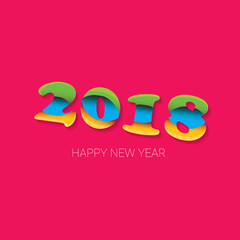 2018 Happy new year creative design numbers and greeting text isolated on pink background.
