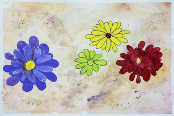Childs watercolor drawing of flowers
