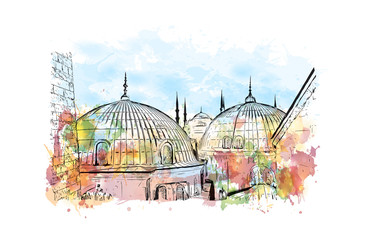 Watercolor splash with hand drawn sketch of Aya Sophia Istanbul, Turkey in vector.
