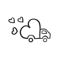 Vector hand drawn icon of delivery truck with love
