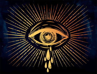 All seeing eye crying watery tears. Sadness look.