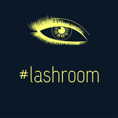 Beauty lash room. Hand-drawn woman's eye fresh makeup look with perfectly shaped full eyelashes. Idea for business visit card. Perfect makeup. Eye with full lashes. Eyelash extension logo