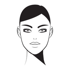 Brow bar lash room. Hand-drawn woman with fresh makeup look and perfectly shaped full eyelashes and brows. Beauty face. Perfect makeup