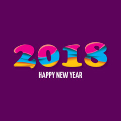 2018 Happy new year creative design numbers and greeting text isolated on violet background.