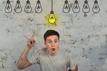 Portrait of a man showing an idea