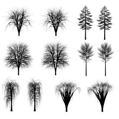 Set of silhouettes of trees, bushes