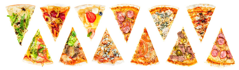 Self adhesive Wall Murals Pizzeria set of a slice of delicious fresh Italian pizza isolated on a white background