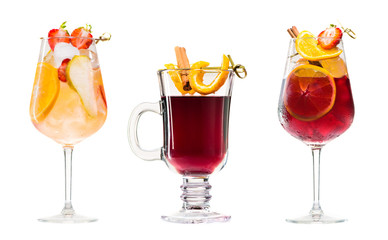 Set of alcoholic cocktails sangria and mulled wine isolated on white