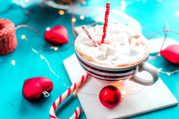 cocoa with marshmallow new year, holidays, christmas,
