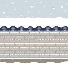 Vector illustration of snowy Korean traditional brick wall