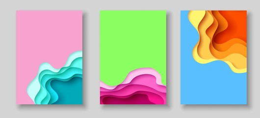 Cover or flyer template with abstract paper cut blue green pink yellow background. Vector template in carving art style Fotoväggar