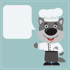 Chef wolf with speech bubble in cartoon style. Smiling wolf cook says and shows like.