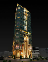 residential tower- night view- 3d rendering and design