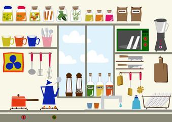 大きな窓のあるキッチン。キッチンのイメージイラスト。素材。