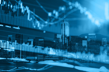 Stock Market Exchange on a city background