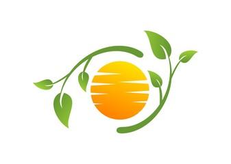 Green nature and summer logo