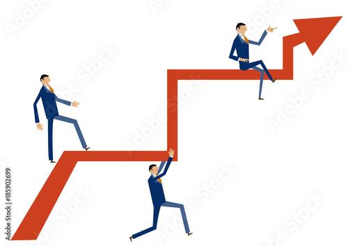 矢印とビジネスマンのクリップアート上昇するビジネスイメージ