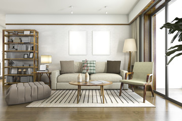 3d rendering scandinavian wood living room
