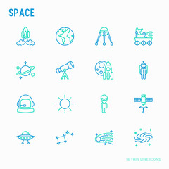 Space thin line icons set: rocket, Earth, lunar rover, space station, telescope, alien, meteorite. Modern vector illustration.