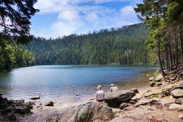 glacial Black lake (Cerne jezero), Sumava mountains, South Bohemian Region, Czech Republic