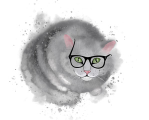 Grey cute cat  in glasses sitting and smiling at you. Watercolor effect.