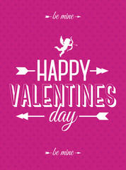 Valentines day card with cupid and sign be mine on hearts background pink color for banner sale, promotion, stamp, poster, label, tag, decoration, romantic quote, party. Vector Illustration