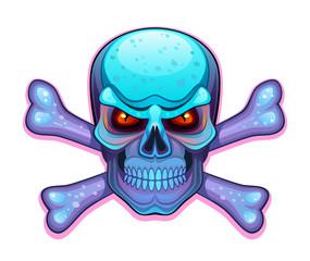 Blue skull with crossbones