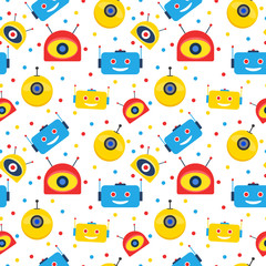 Custom blinds with your photo Colorful robot heads and dots seamless pattern