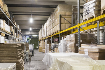 Warehouse goods and shelving with products