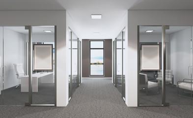 Modern meeting room. 3D rendering. Mockup picture.
