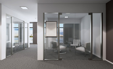 Modern office Cabinet. Meeting room. 3D rendering. Mockup picture.