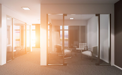 Modern office Cabinet. Meeting room. 3D rendering. Sunset.