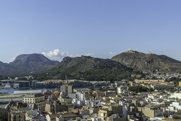 Rooftops of the city of Cartagena, Spain