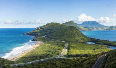 Panoramic view of St Kitts and Frigate Bay.